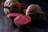 Sliced tasty raw beetroot.