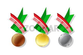 Belarusian vector medals set