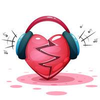 Headphones, heart, love - cartoon illusration.