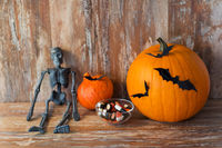 halloween pumpkins, skeleton and candies
