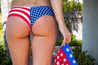 Patriotic Woman's Butt Wearing An American Flag Bikini Bottom