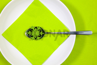 White plate and green Christmas decoration on the table.
