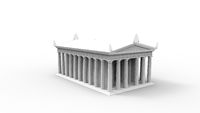 3d rendering of an anchient greek temple isolated in white studio background