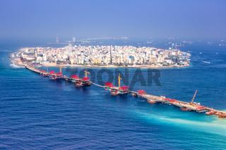 Malediven Male Insel Hauptstadt Ozean Brücke Luftbild