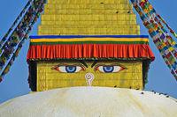 Buddha's Augen an der Boudhanath Stupa, Kathmandu, Nepal