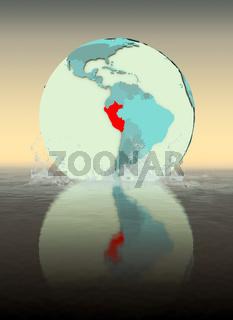 Peru on globe splashing in water