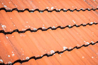 roof closeup, roofing tiles macro - red roof tile pattern
