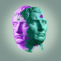 Modern conceptual art poster with ancient statue of bust of Octavian Augustus and Germanicus.
