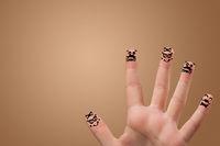 Elegant fingers smiling together