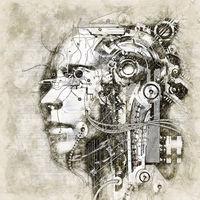 Digital artistic Sketch of a Cyborg