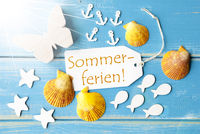 Sunny Greeting Card With Sommerferien Means Summer Holidays