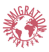 Immigration word concept around the world with people walking