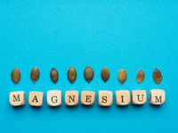 Organic pumpkin seeds with the word magnesium