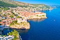 Historic city of Dubrovnik aerial panoramic view