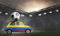 Colombia car on football stadium