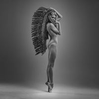 classic ballet dancer with indian feathers plume dancing with elegance
