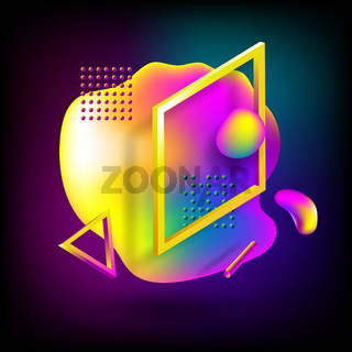 Abstract flowing liquid elements, colorful forms, dynamic geometric shapes, gradient waves, vector banner on black