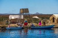 Uros floating islands of lake Titicaca, Peru, South America