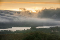 Fog Rolling over Crystal Springs Reservoir as seen from a vista point off Highway 280 on a Summer Su