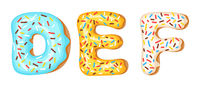 Donut icing upper latters - D, E, F. Font of donuts. Bakery sweet alphabet. Donut alphabet latters A b C isolated on white background