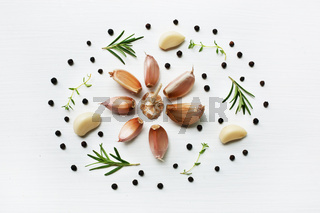 Garlic with herb isolated on white background.