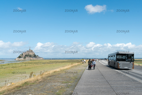 bus transport for tourists visiting the famous Mont Saint-Michel in France