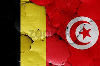 flags of Belgium and Tunisia
