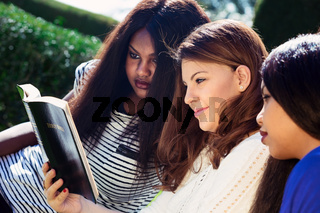 Three Girls Studying the Bible Together