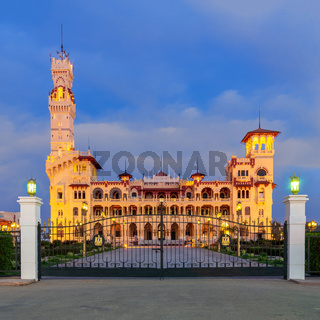 Night shot of the royal palace at Montaza public park, Alexandria, Egypt