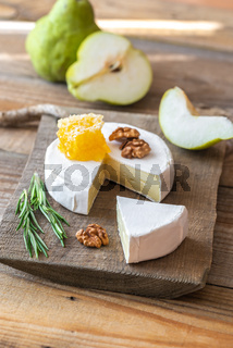 Camembert cheese with pears