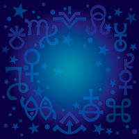 Astrological diadem (astrological signs and occult mystical symbols), blueprint celestial pattern background with stars.