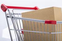 Paket mit Einkaufswagen