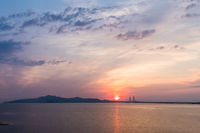 poyang lake second bridge in sunrise