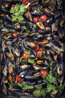 Traditional barbecue Italian blue mussel with parsley and tomatoes in white wine as top view on a tray