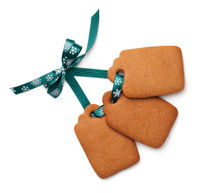 Gingerbread Label Cookies with Ribbon Bow Isolated on White Background