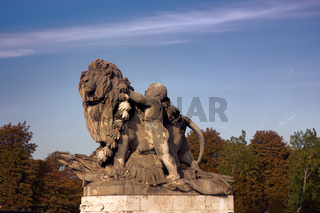 Statue of a lion on the Champs Elysees