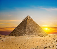 Chefren pyramid at sunset