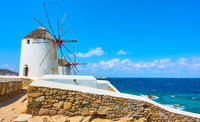 Windmills on the seashore in Mykonos