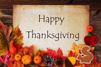 White Paper With Happy Thanksgiving, Colorful Autumn Decoration