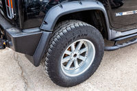 Close up view of Hummer vehicle wheel