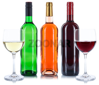 Wein Flaschen Glas Weinflaschen Weinglas Rotwein Rose Weißwein Weisswein freigestellt Freisteller