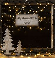 Window, Lights In Night, Weihnachtsfeier Means Christmas Party