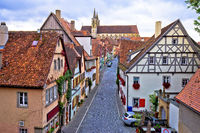 Colorful cobbled street of historic town of Rothenburg ob der Tauber view