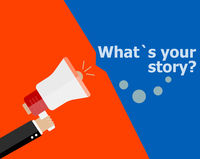 flat design business concept. What is Your Story. Digital marketing business man holding megaphone for website and promotion banners.