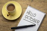 Hello October  handwriting