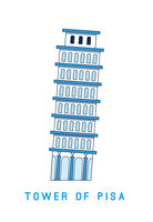 Line art Leaning Tower of Pisa, Italy, European famous sight, vector illustration in flat style.