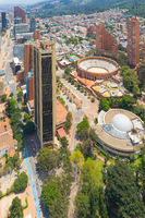 Bogota aerial view of bulls square arena and planetarium building