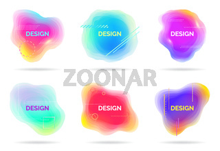 Set of abstract flowing liquid elements, colorful forms, dynamic geometric shapes, gradient waves, vector