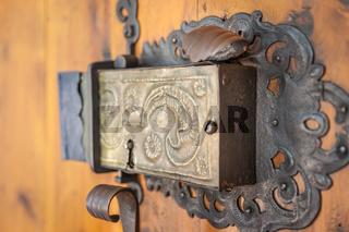 Church portal with old door lock