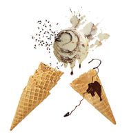 ice cream with waffle cones isolated on white background.